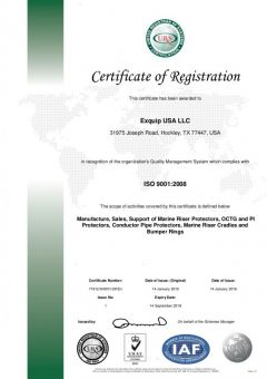 Exquip USA LLC. ISO 9001 certificate
